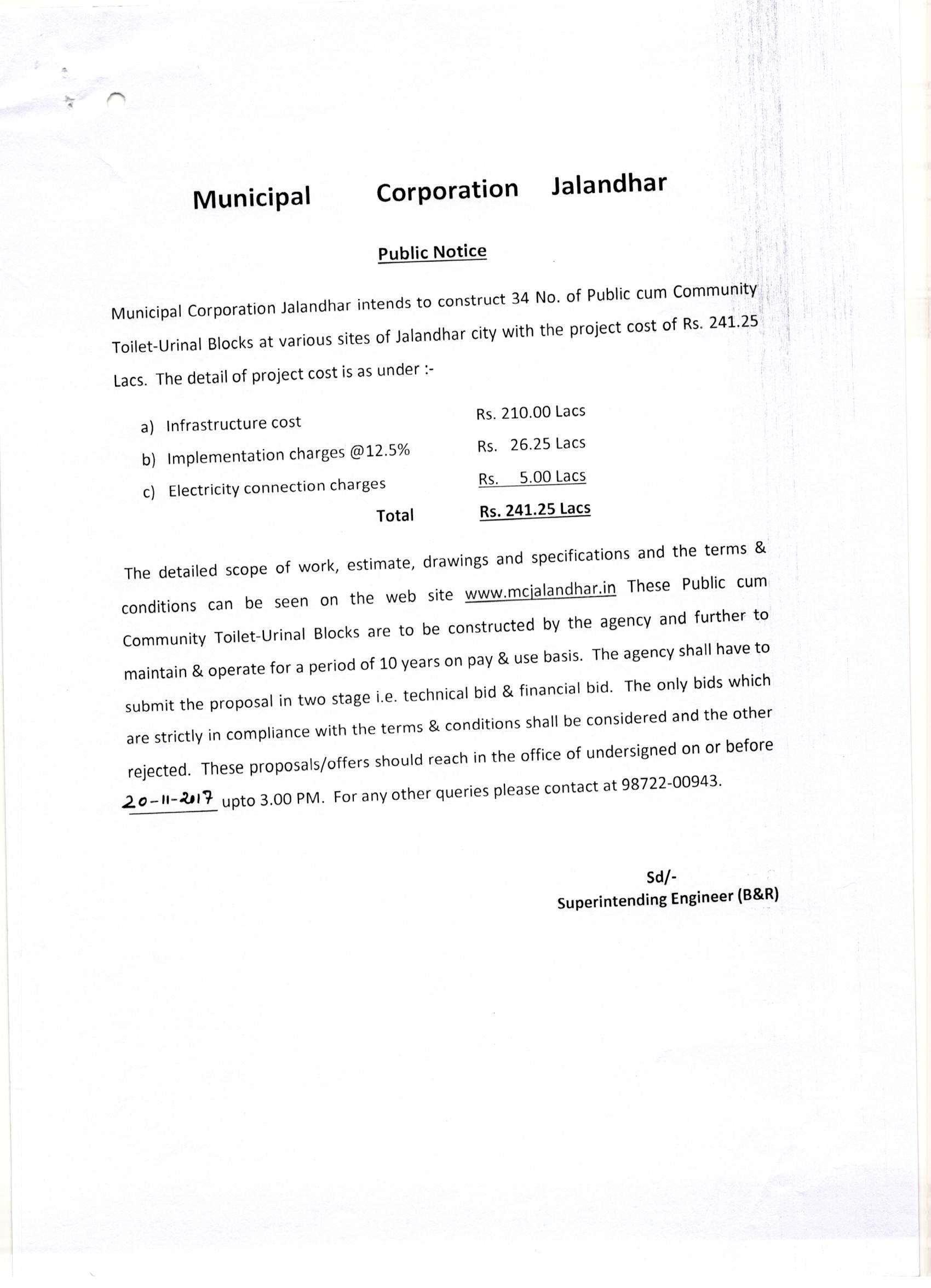 Muncipal corporation jalandhar public notice for tender spiritdancerdesigns Choice Image